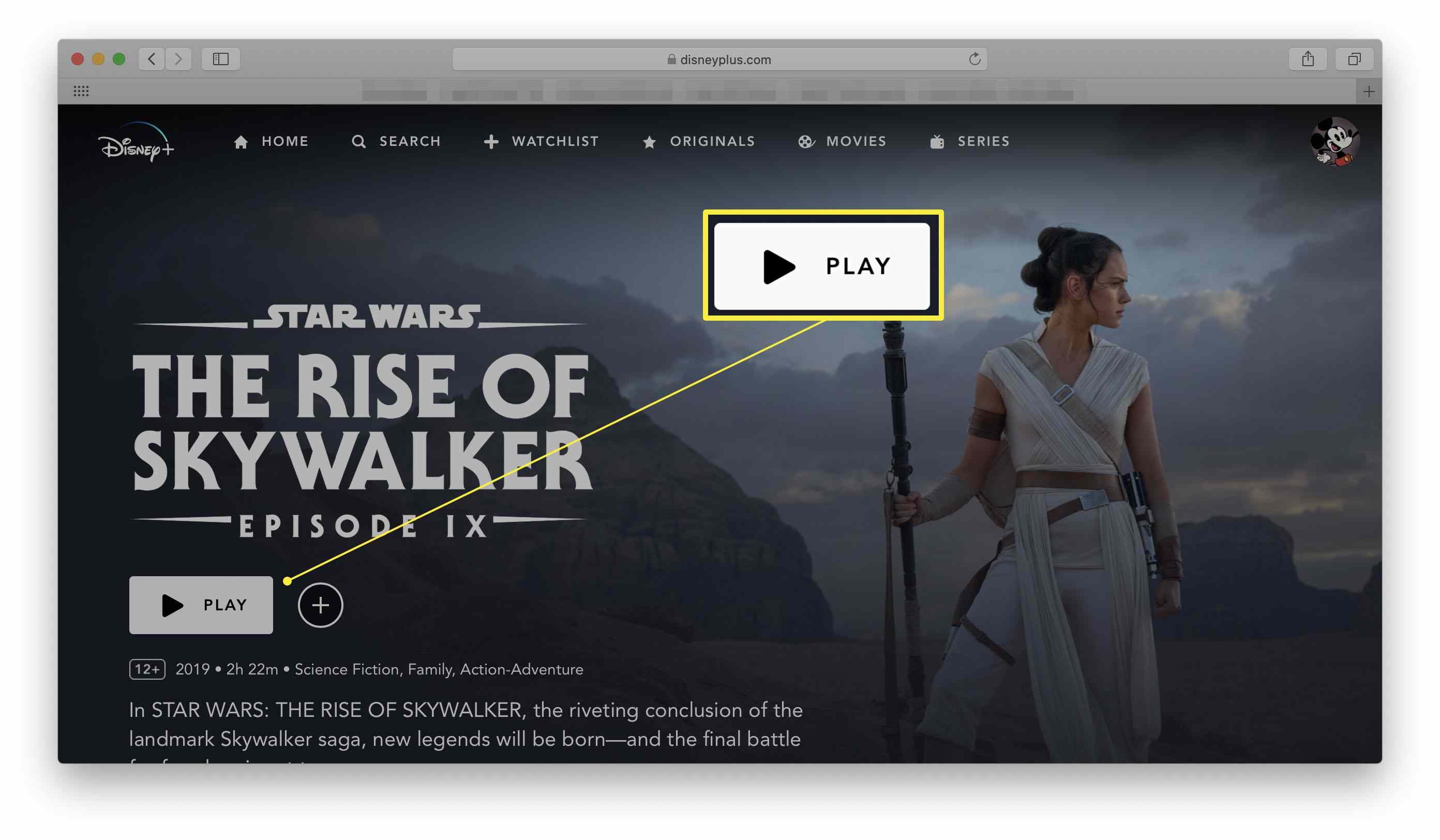 Disney+ website with the play button highlighted on a movie (Star Wars: The Rise of Skywalker)