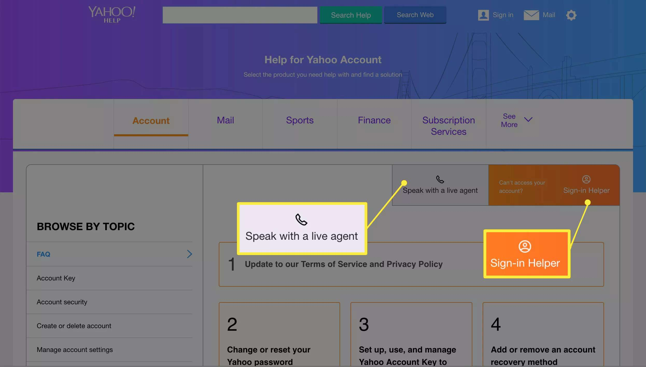 Speak with a live agent and Sign-in Helper buttons on Yahoo Mail support page