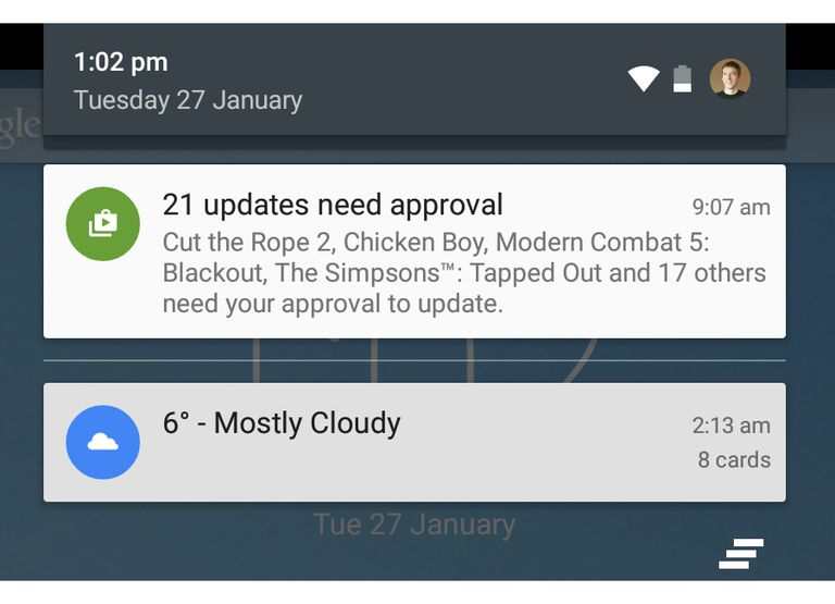 Android screen showing app update notifications and a weather alert