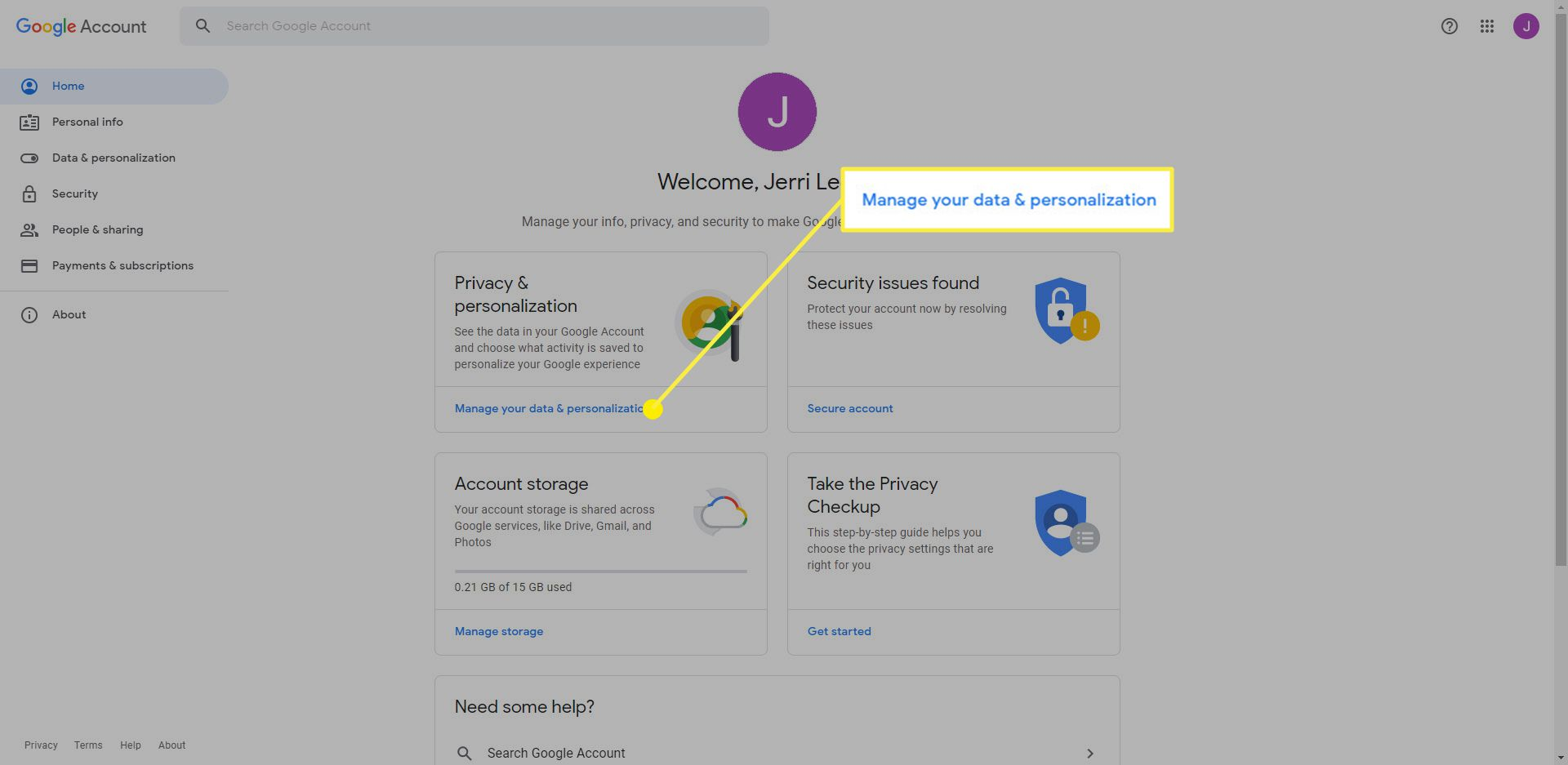 Google Account page with the Manage your data & personalization link highlighted
