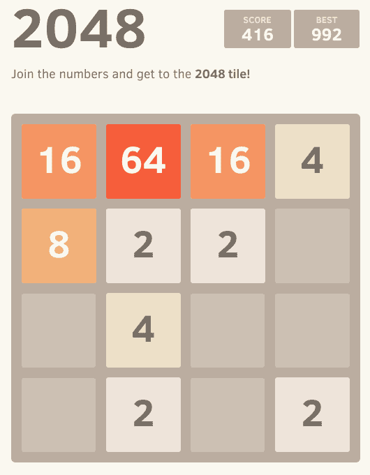 Screenshot of the 2048 online game