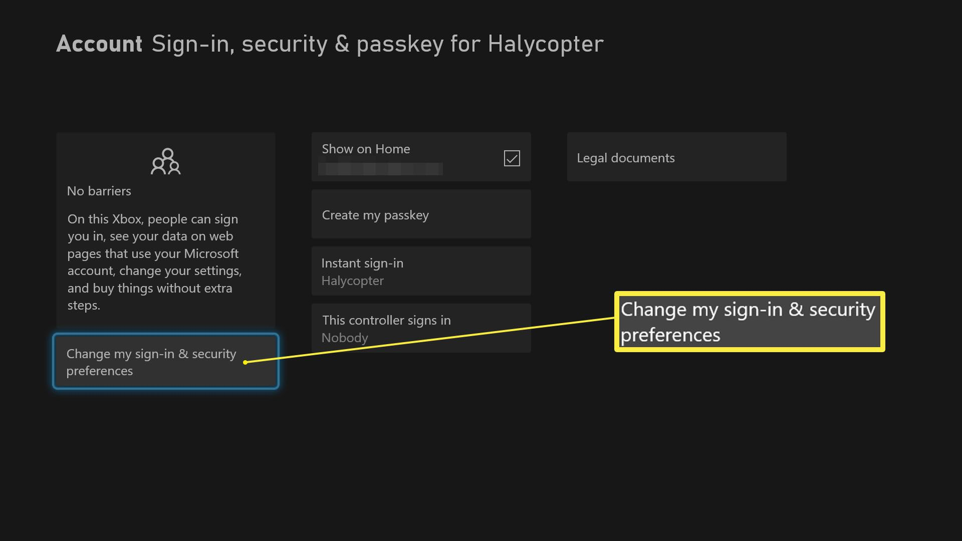 Xbox Series X settings with Sign-in, security and passkey highlighted