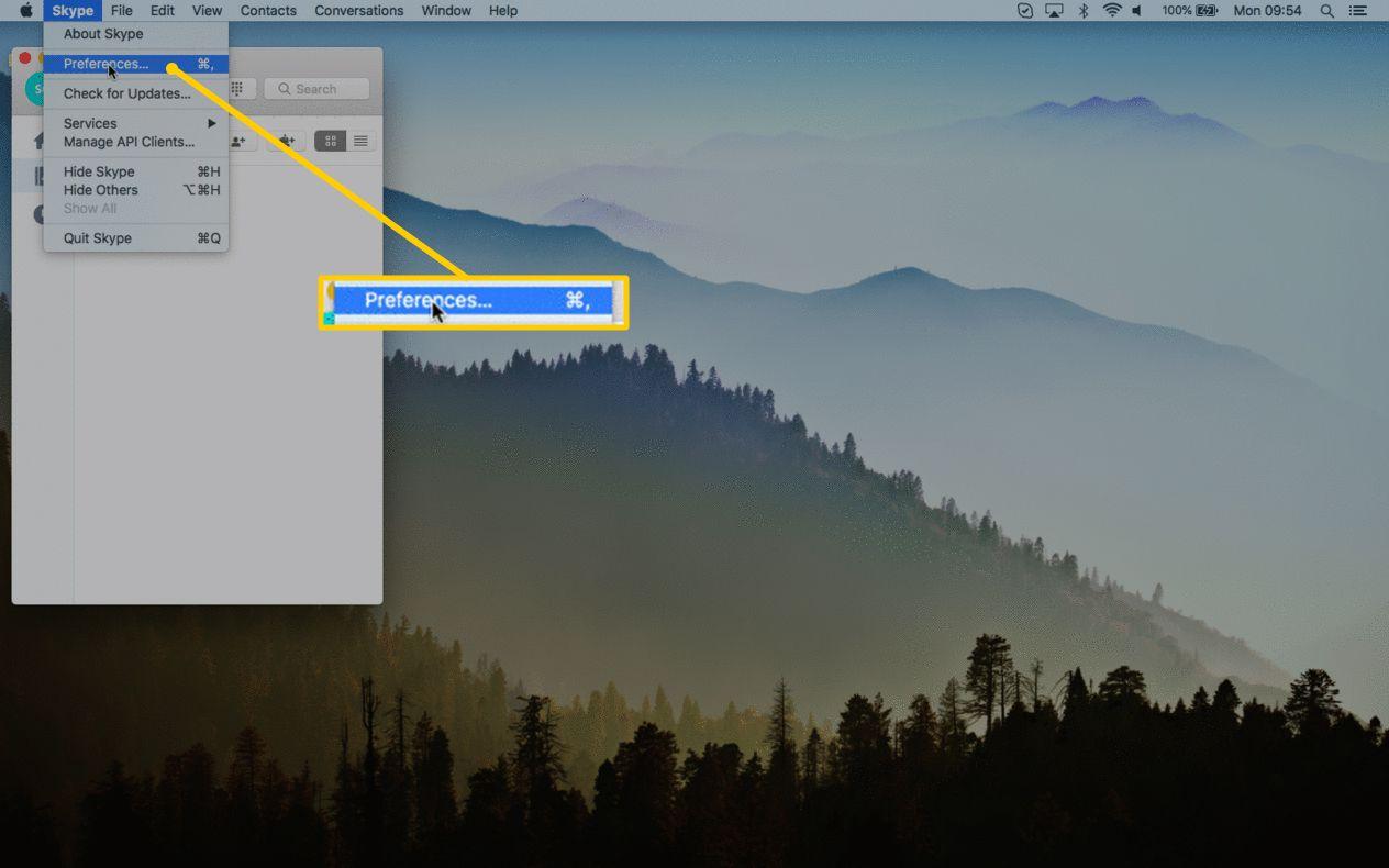 Skype Preferences menu item for macOS