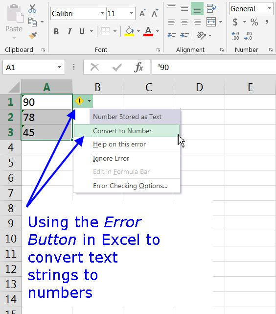 Excel column with directions for how to use the Error Button.