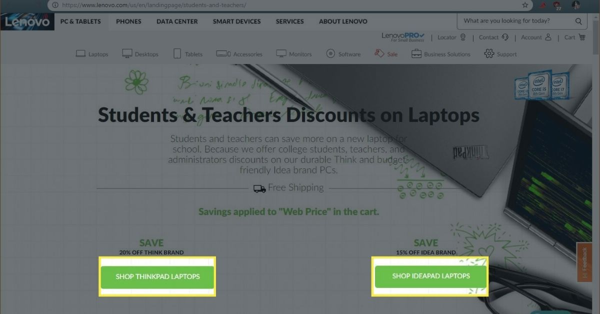 The Lenovo Students and Teachers Discounts page.