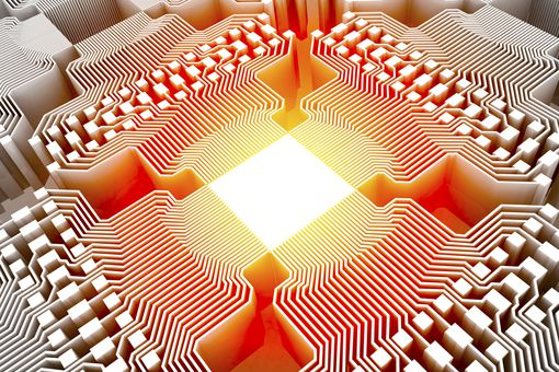 An image of a quantum computer's chipset.