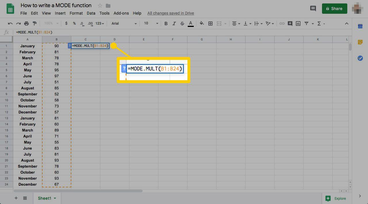Google spreadsheet MODE function