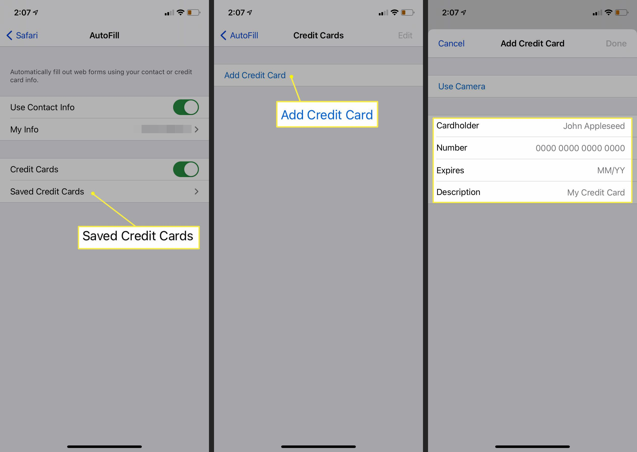 Saved Credit Cards > Add Credit Card