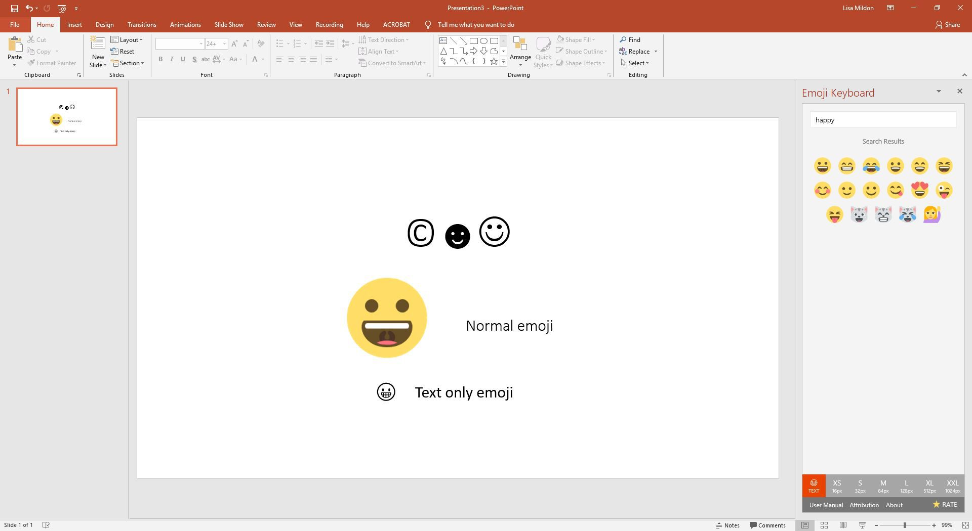 Insert a Copyright Symbol or Emoji on a PowerPoint Slide