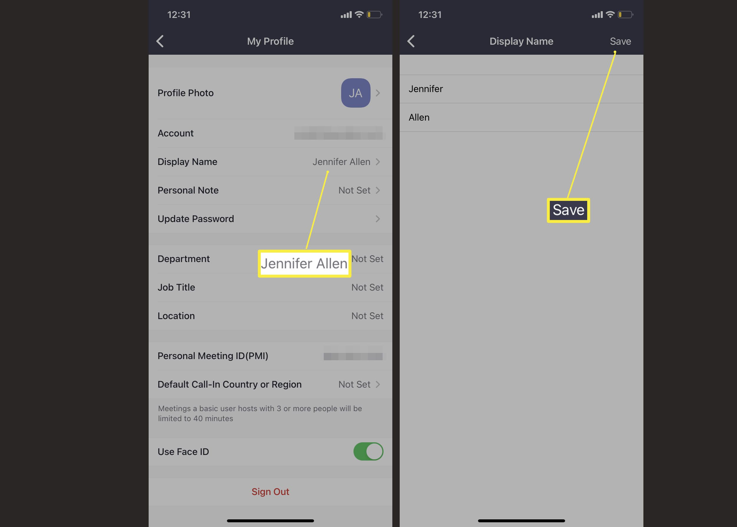 Zoom mobile app with settings for changing display name highlighted