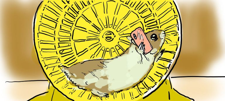 Illustration of hamster on hamster wheel with a smartphone