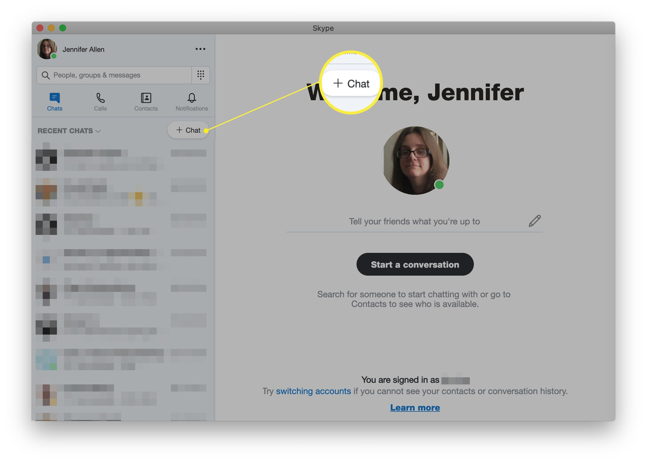 Skype with New Chat highlighted