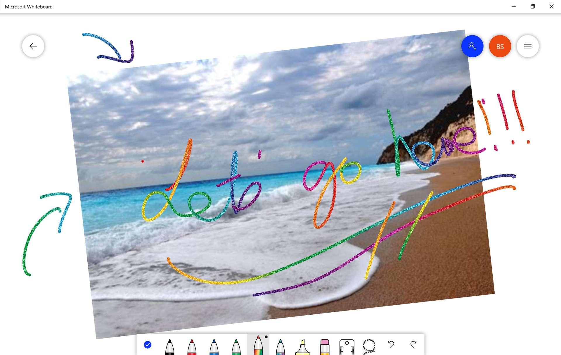 Microsoft Whiteboard drawing app on a Windows 10 Surface Pro.