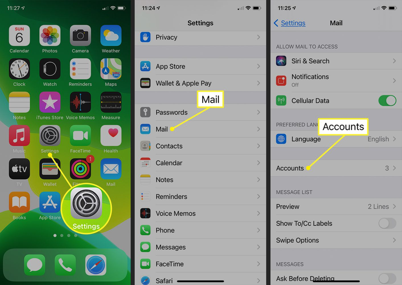 iPhone Mail settings showing Accounts