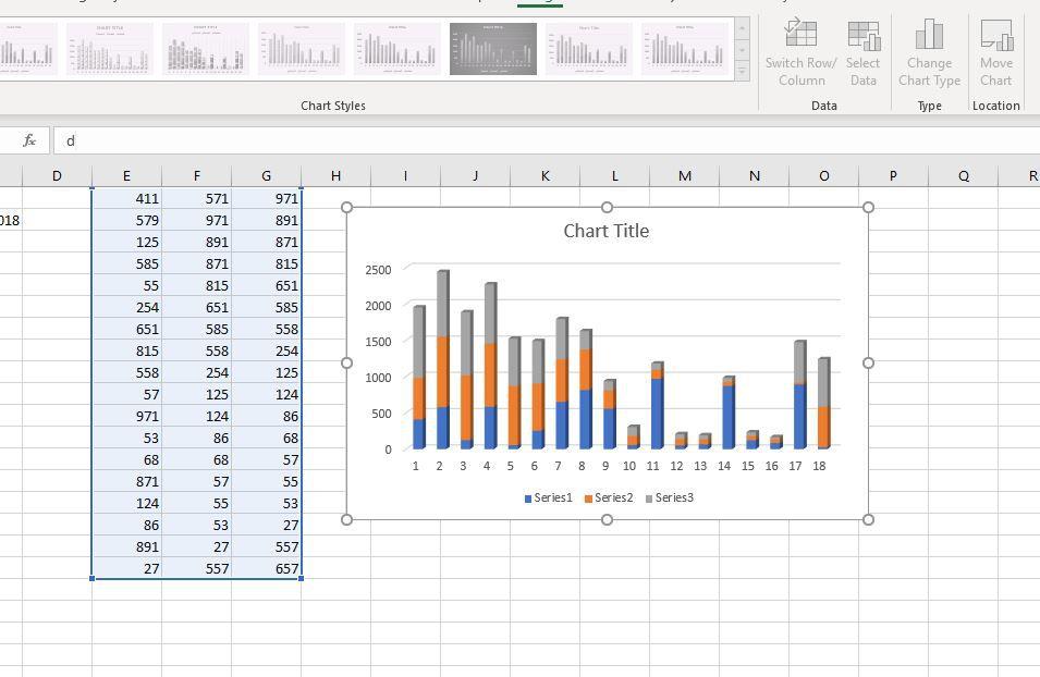 Column chart in Excel