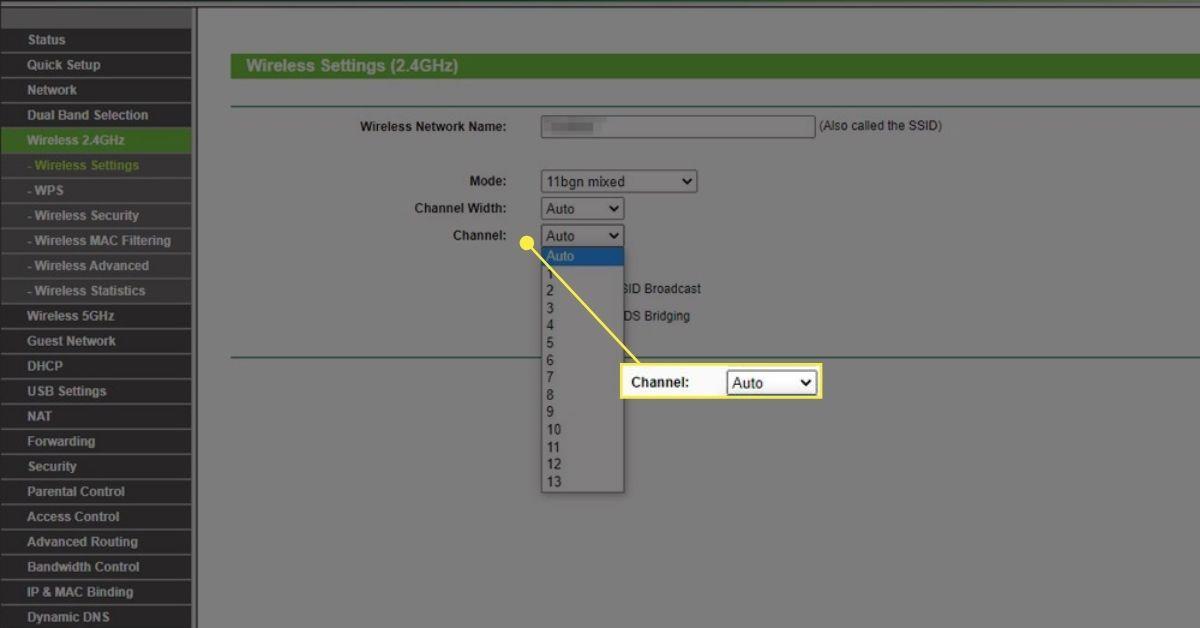 Wireless settings in router menu