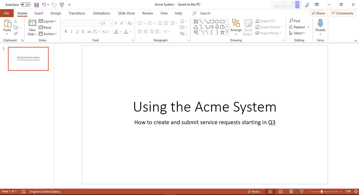 Slide Layouts in Microsoft PowerPoint - Opening Screen