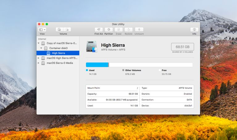 Disk Utility and the APFS file system
