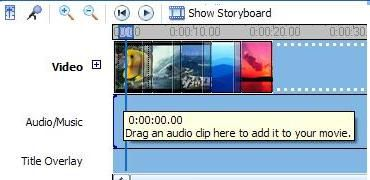 Screenshot of adding music to the timeline.
