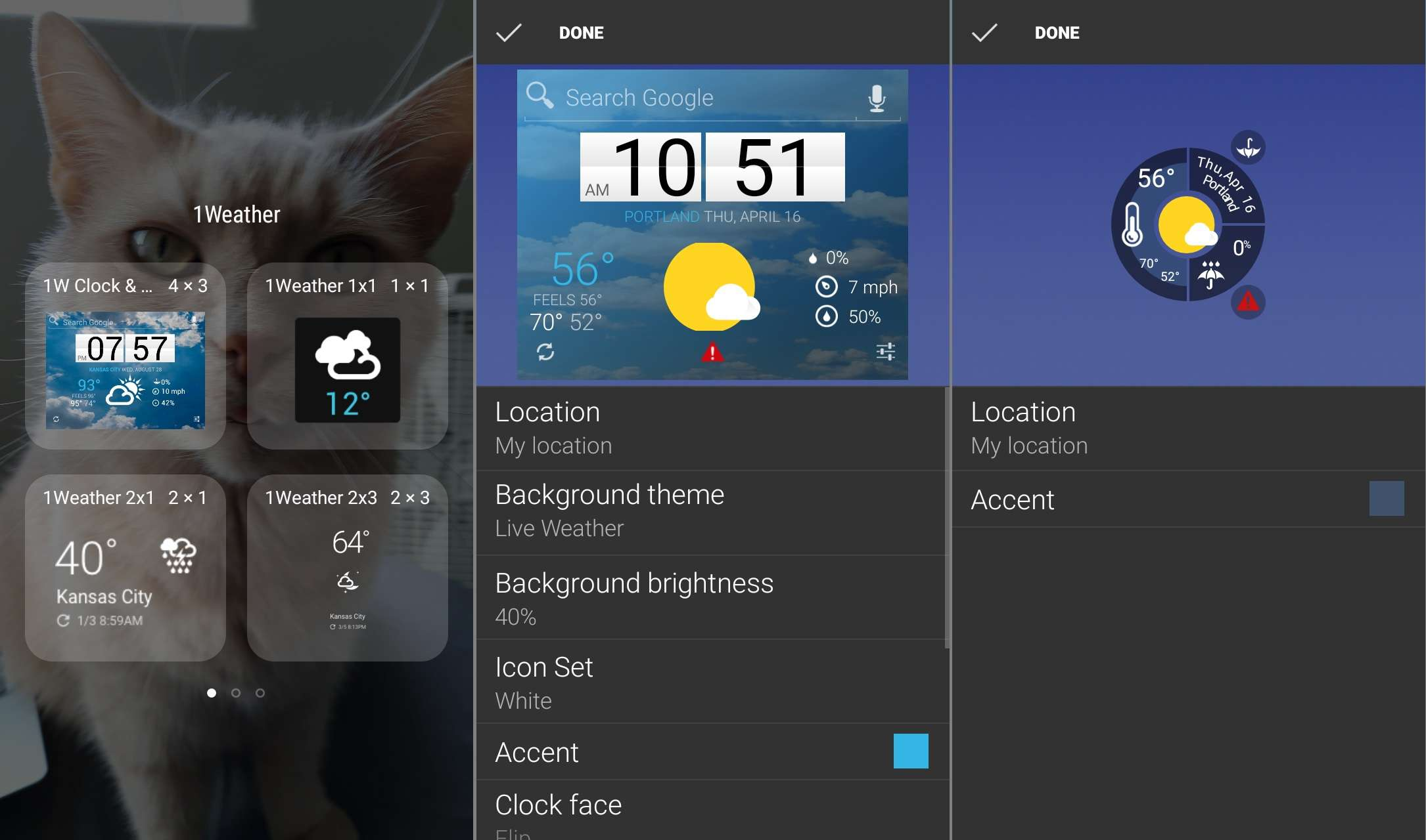 Weather1 widgets and settings for Android