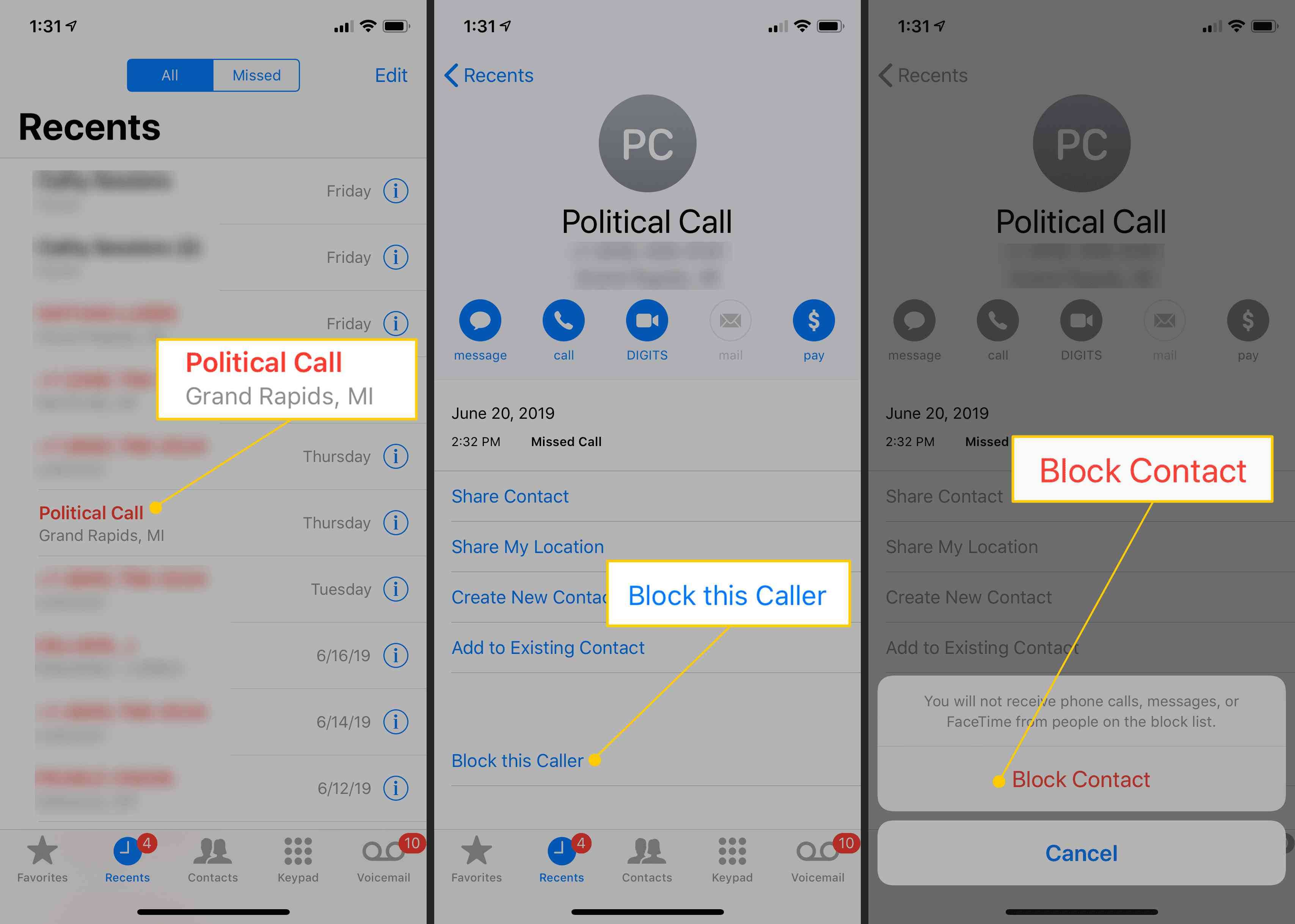 Call record in Recents, Block this Caller button, Block Contact confirmation on iPhone