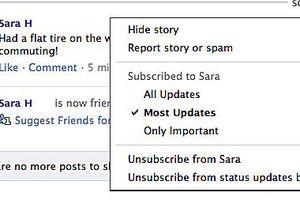 Hide friends on Facebook menu