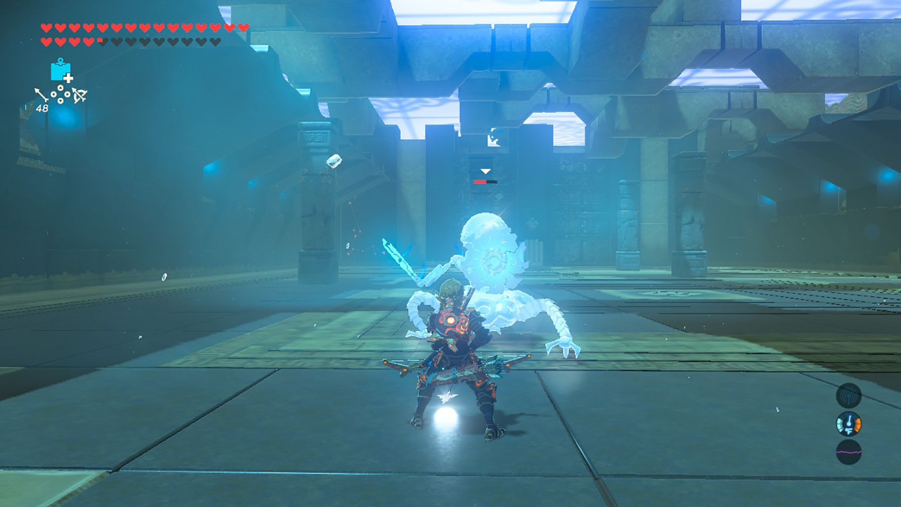 Screenshot of freezing a Guardian in Breath of the Wild