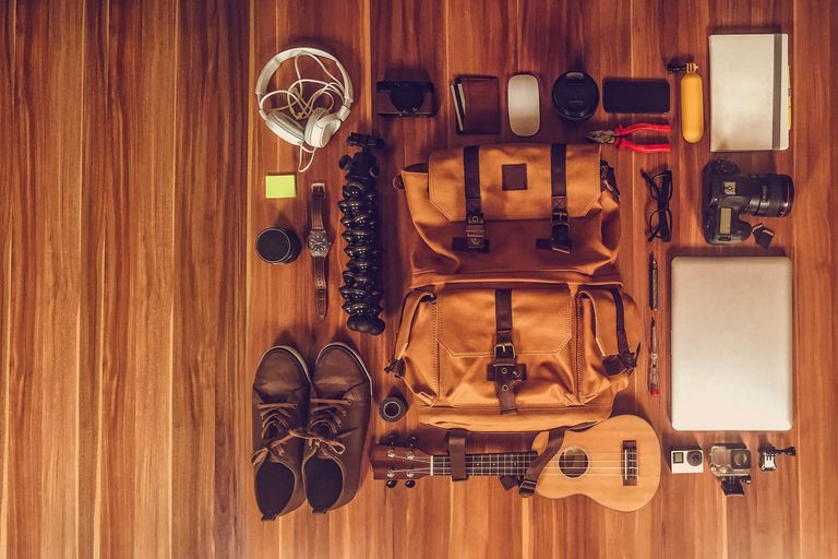 Photographer's gear for travel arranged