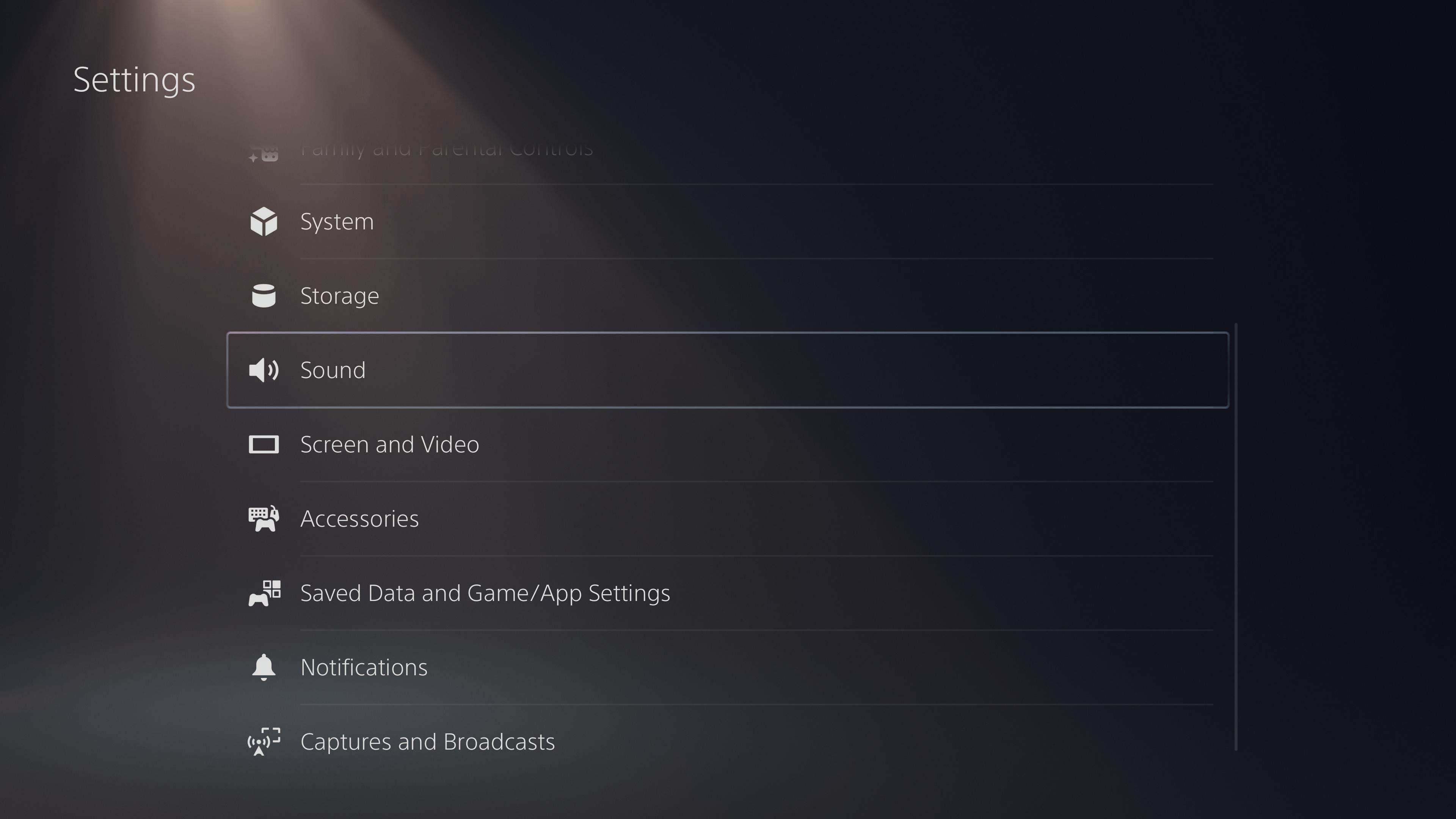 The Sound heading in PS5 settings