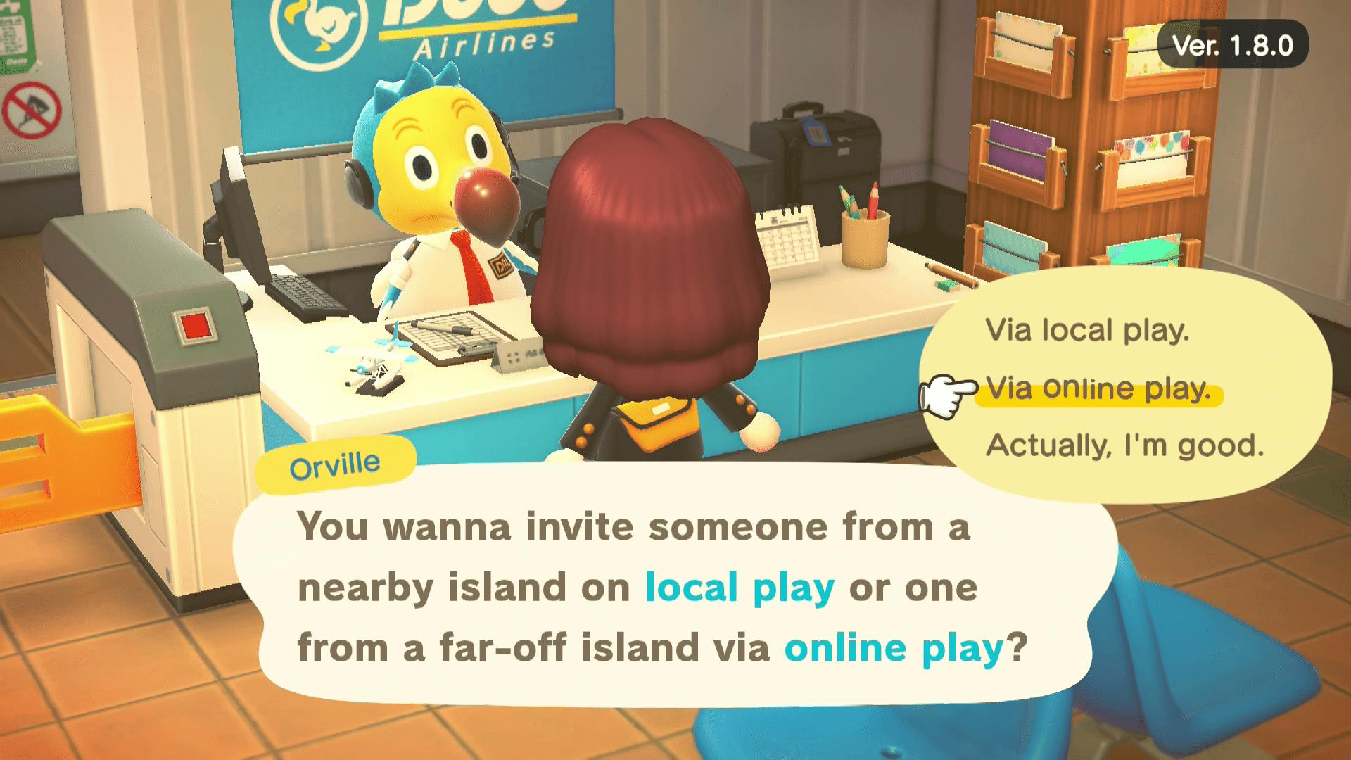 Via online play selected in Animal Crossing.