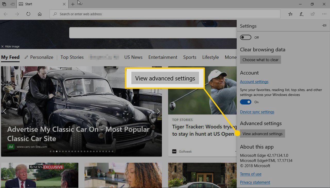 View Advanced Settings in Microsoft Edge