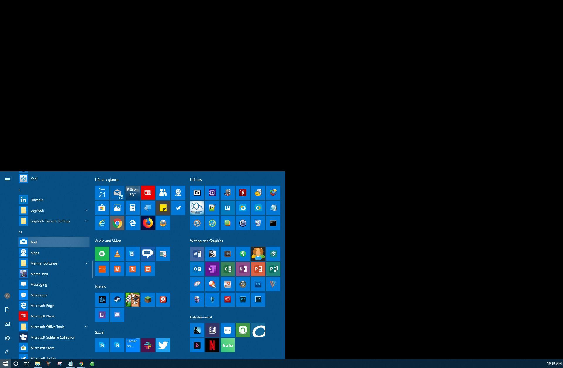 Selecting Windows 10 mail app.