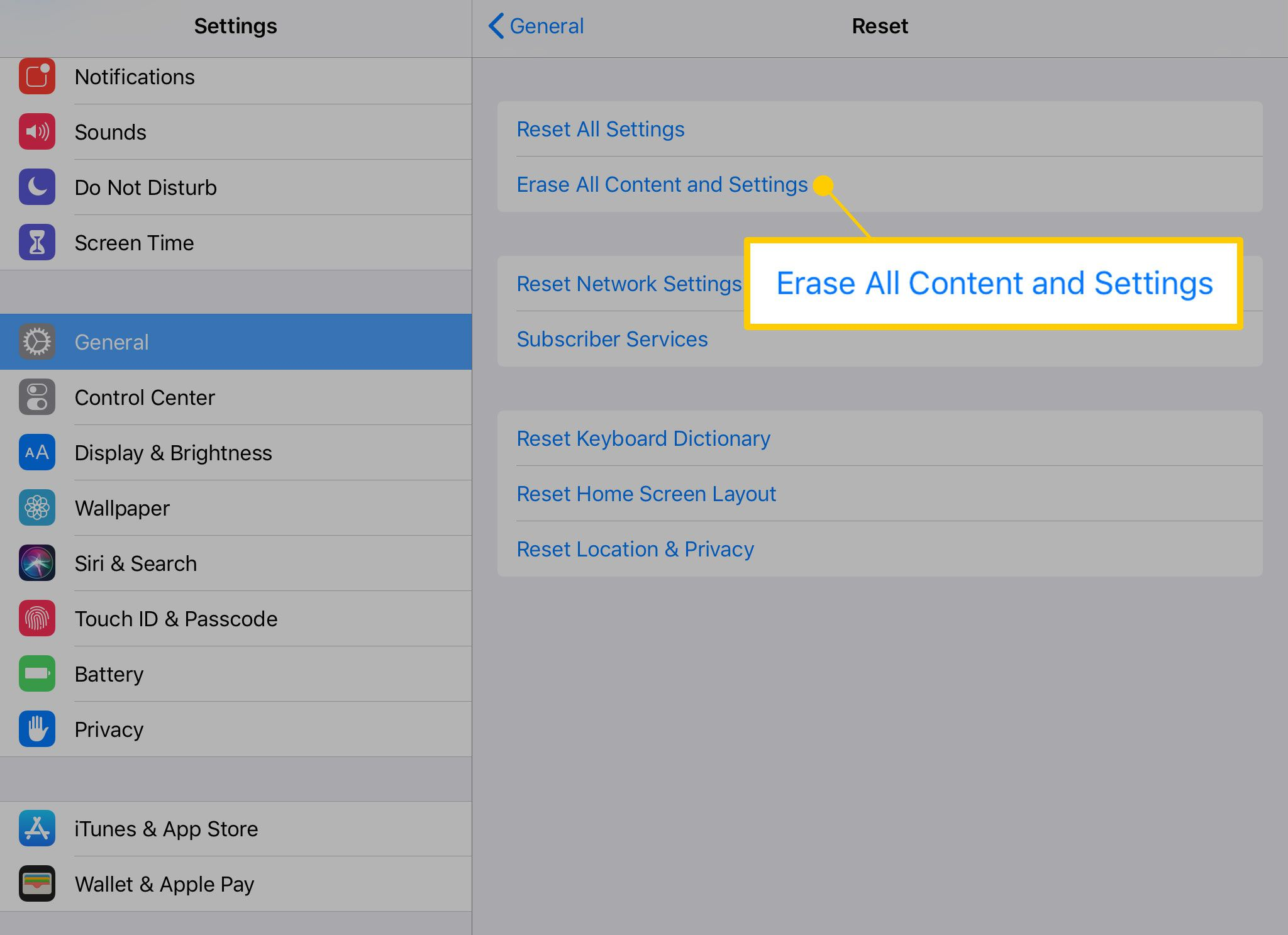 Erase All Content and Settings option on an iPad