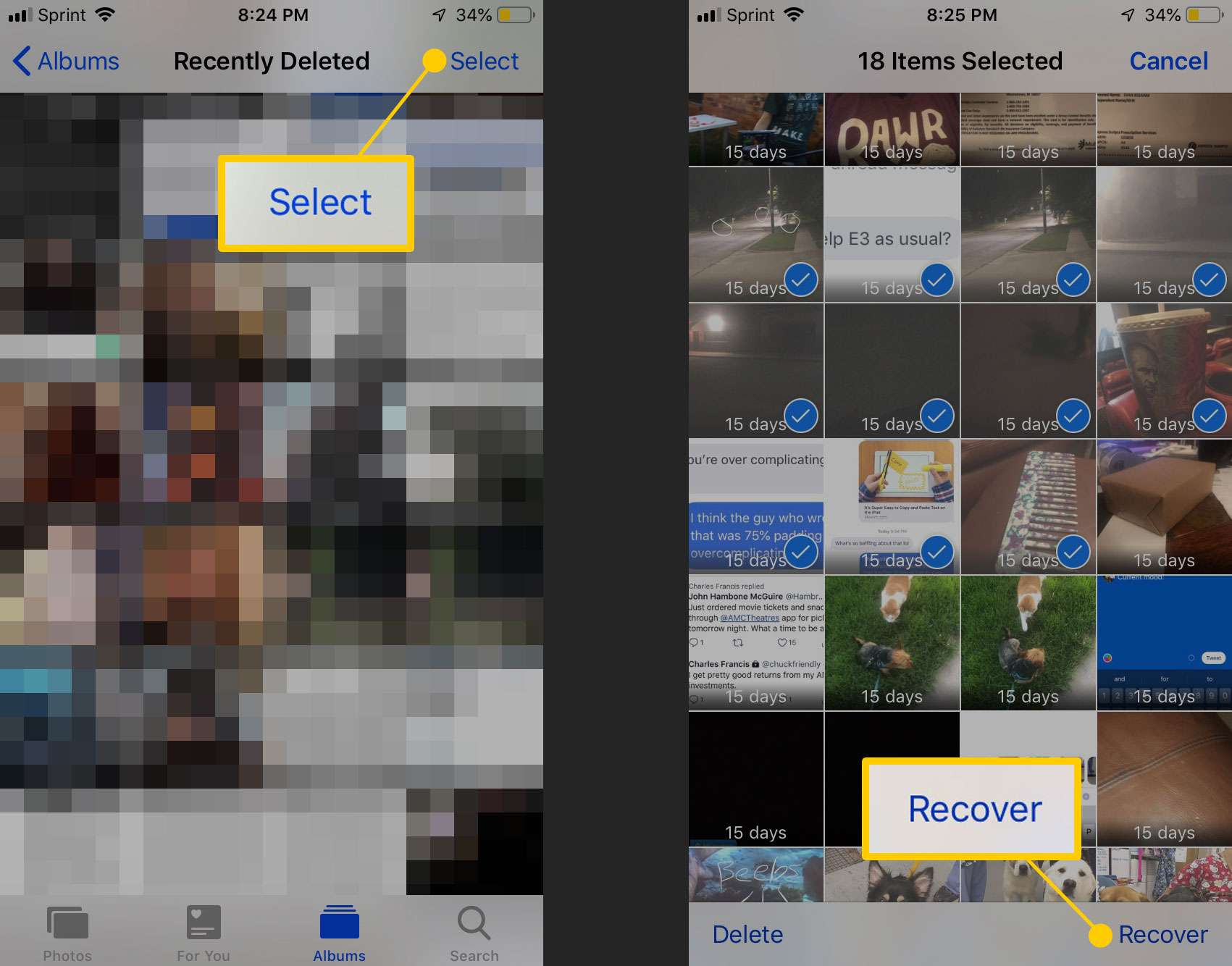 Recover deleted photos on iPhone screenshot