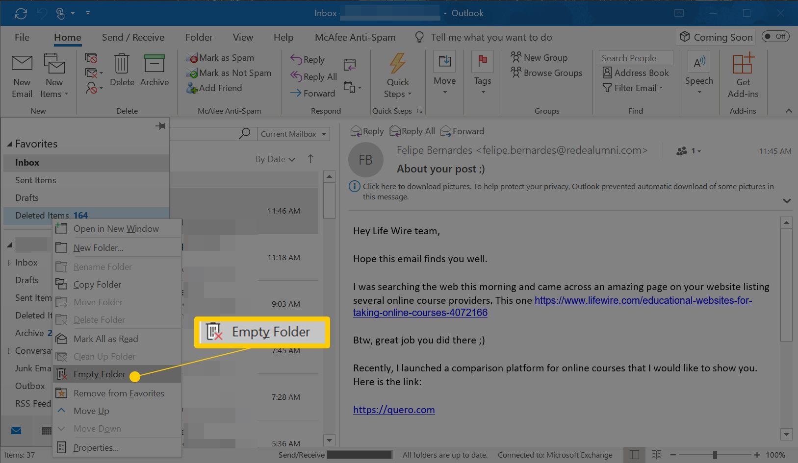 Empty Folder right-click menu item