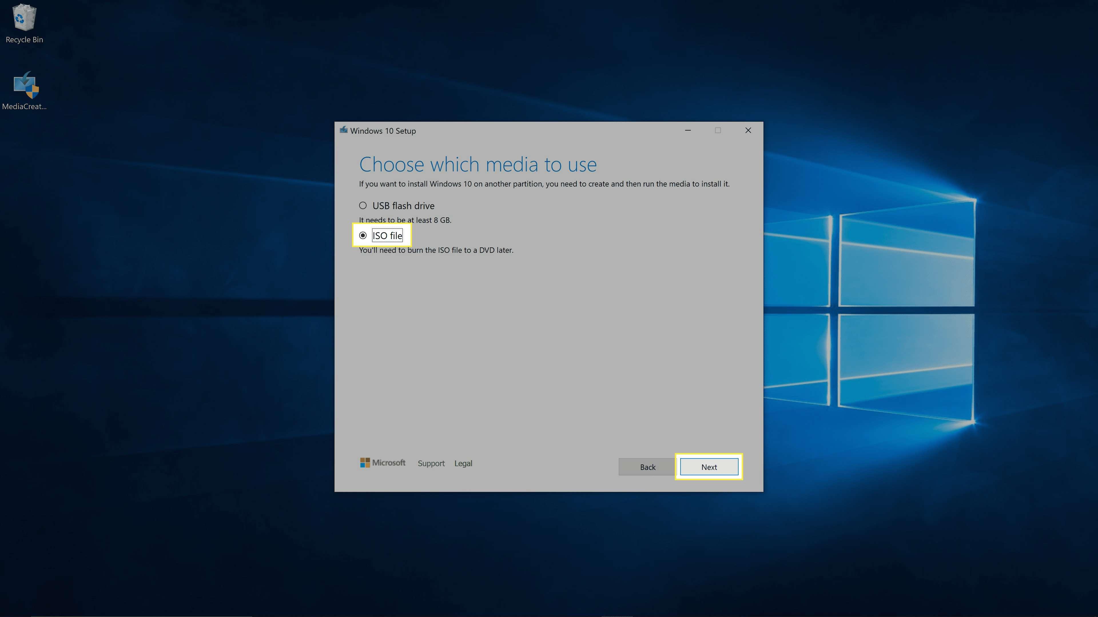 Windows Media Creation Tool options.