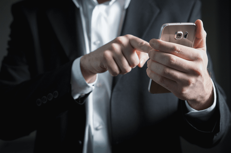 Man using android phone