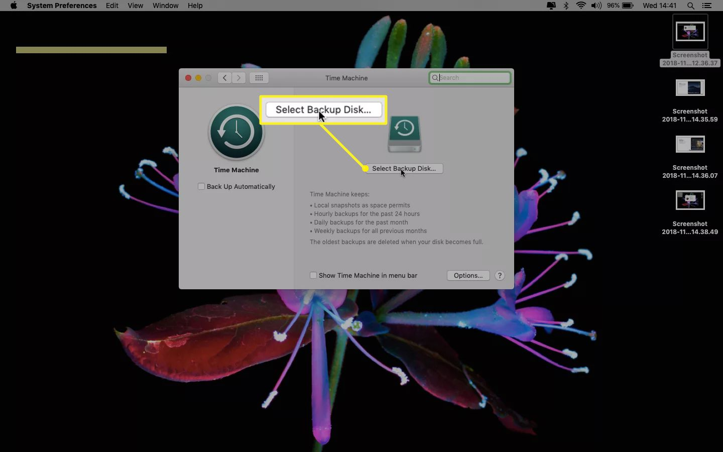 Time Machine on a Mac showing Select Backup Disk