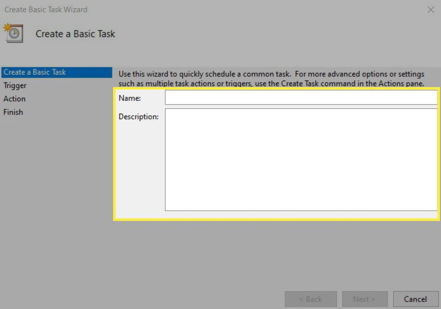 Naming and describing a task in Task Scheduler.