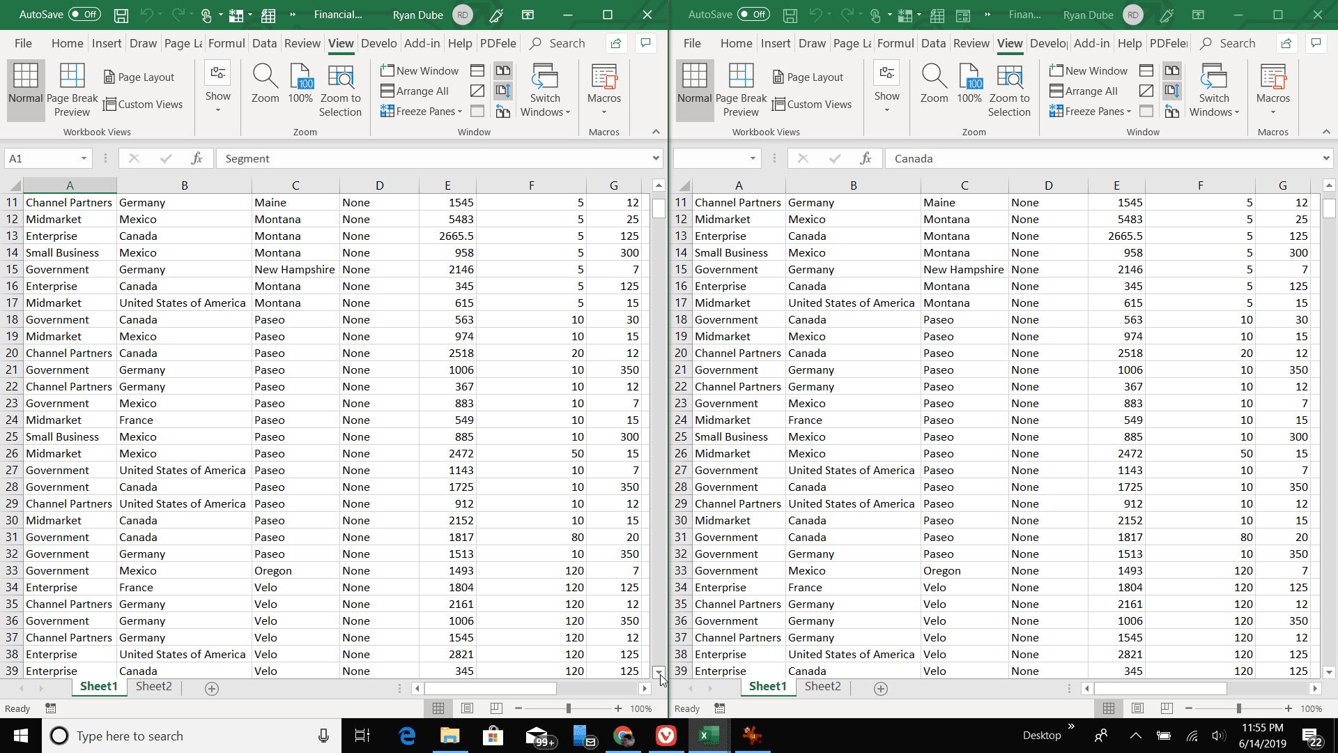 Screenshot of side by side view in Excel
