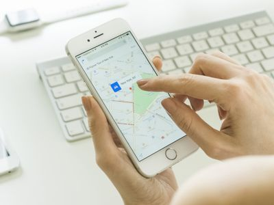 Map displayed on an iPhone holding it above a keyboard