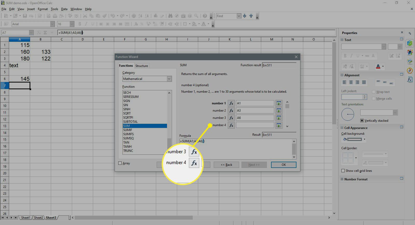 Selecting number 4 cell in OpenOffice Calc.