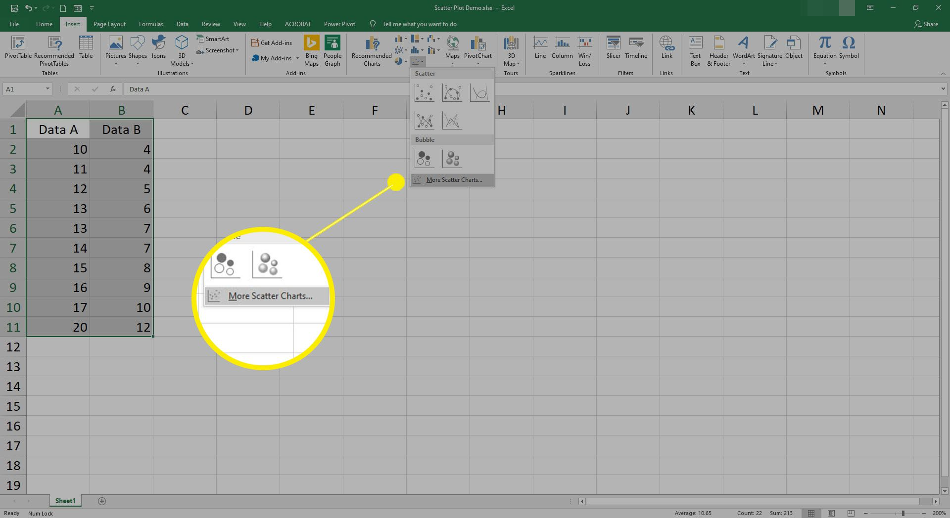 Screenshot of Scatter plot icon selected, cursor over More Scatter Charts menu item.