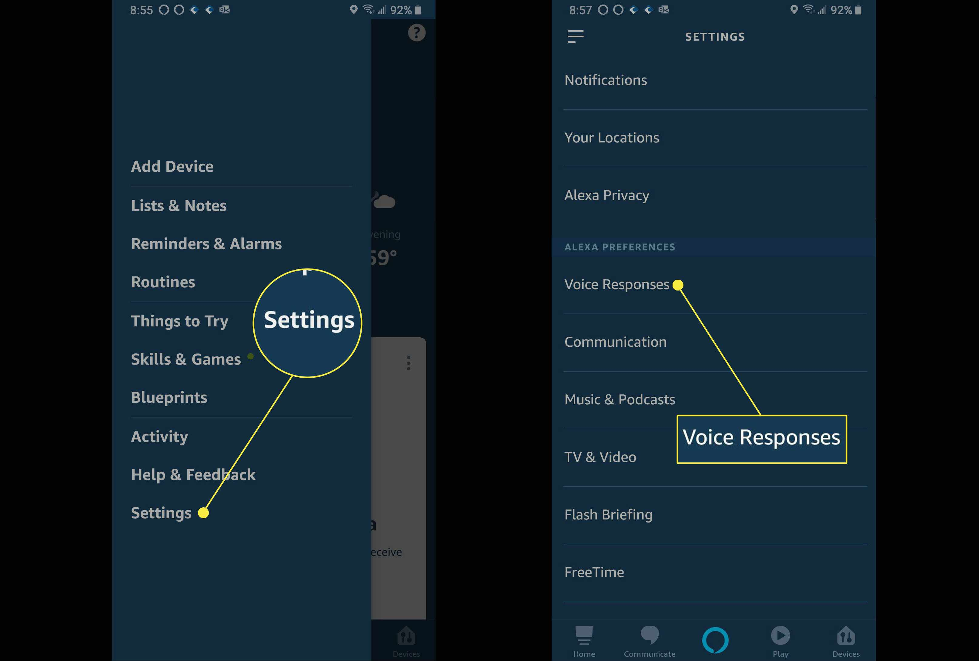 The location of the Voice Responses option in the Alexa App.