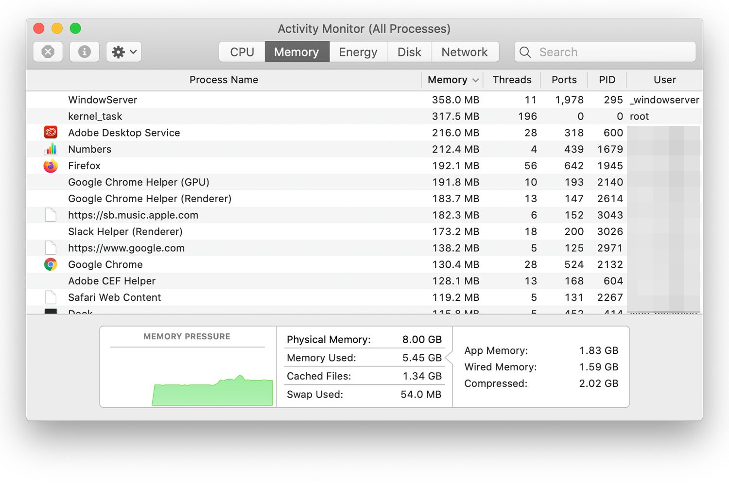 Activity Monitor showing Memory Pressure graph on a Mac