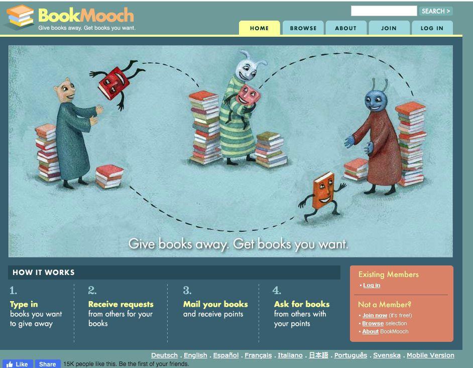 Screenshot of BookMooch book-centered social site