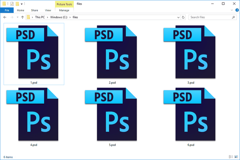 Screenshot of PSD files used by Adobe Photoshop