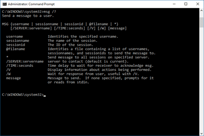 Screenshot of the MSG help command in Windows 10
