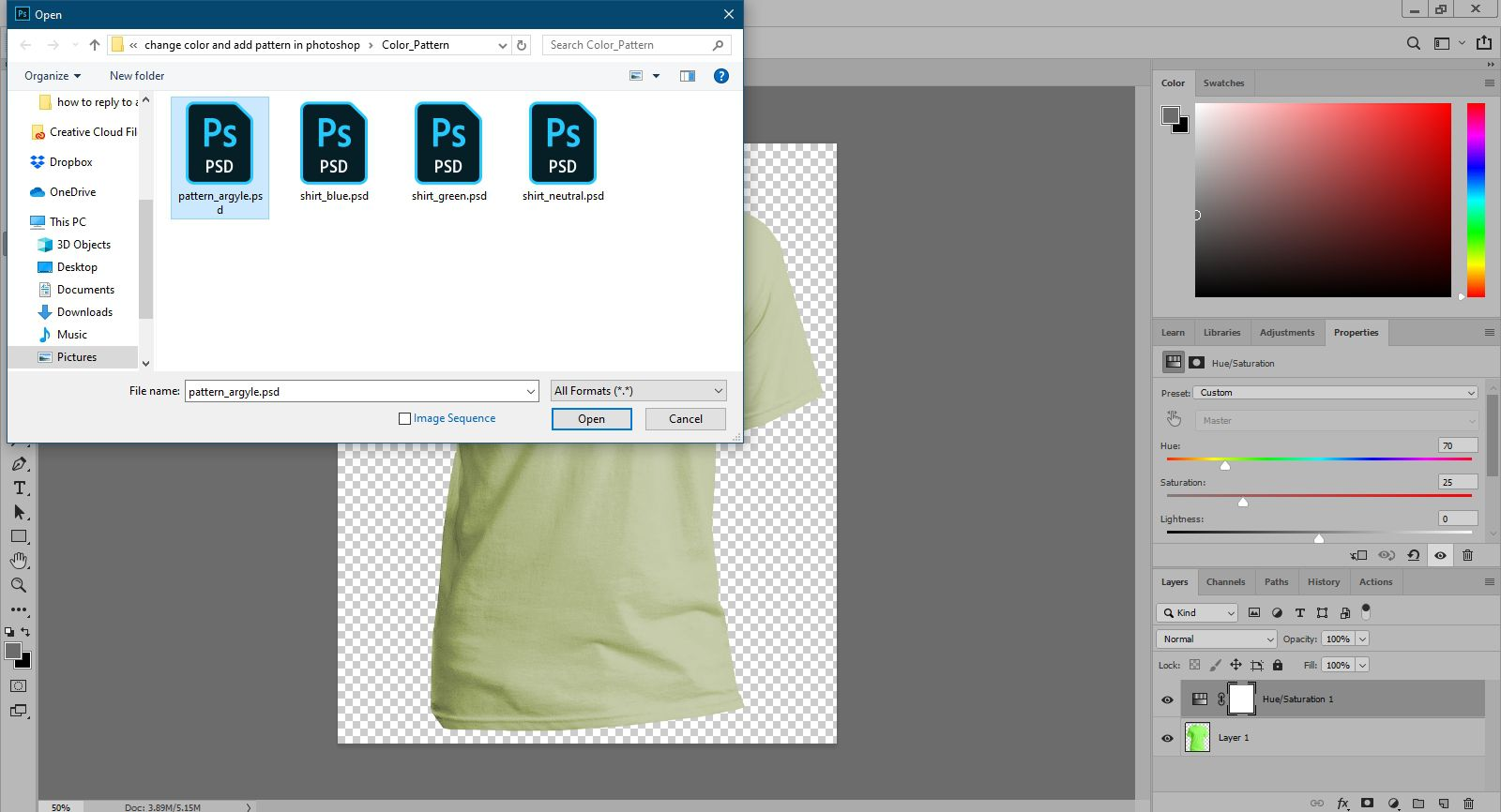 Opening an argyle pattern in Photoshop.