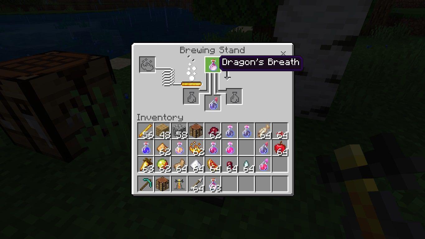 Dragon's Breath in the Minecraft brewing menu